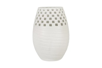 White 13.5 Inch Ceramic Cut-Out Vase