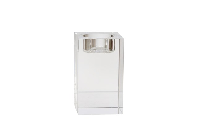 4 Inch Clear Glass  Candle Holder - 360