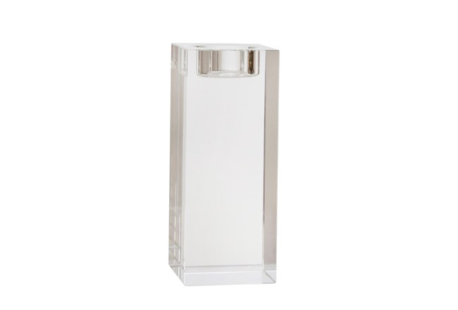 6 Inch Clear Glass  Candle Holder - 360