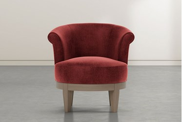 Cleo Burgundy Swivel Accent Chair
