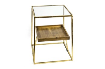2-Tier Gold + Wood Accent Table
