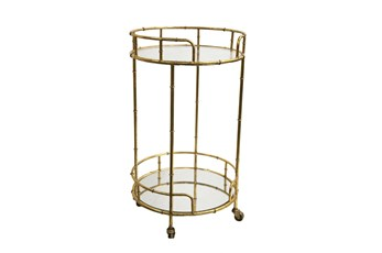 Round Mirrored Gold Bar Cart
