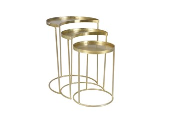 Set Of 3 Gold Half Moon Accent Table
