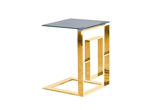 Gold Metal + Glass C Table  - 360