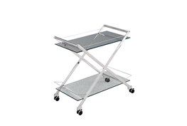Two Tier Silver Rolling Bar Cart