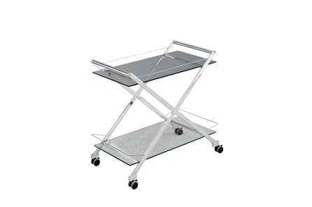 Two Tier Silver Rolling Bar Cart - Main