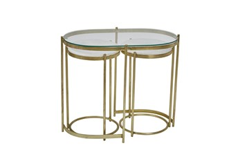 Gold + Marble Accent Table With Console