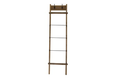 76 Inch Wood + Metal Ladder With Hooks