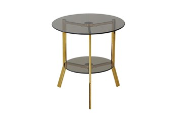 Gold + Tempered Glass Accent Table