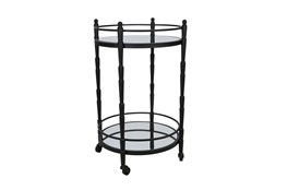 Black Metal + Glass 2 Tier Round Bar Cart