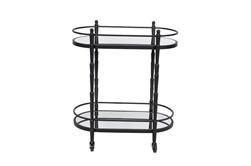 Black Metal + Glass 2 Tier Oval Bar Cart