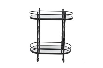 Black Metal + Glass 2 Tier Oval Bar Cart