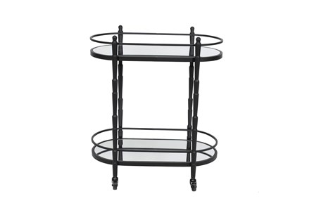 Black Metal + Glass 2 Tier Oval Bar Cart - Main