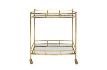 """Metal 28"""" 2 Tier Bar Cart, Gold"""