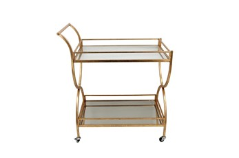 Gold 2 Tier Rolling Bar Cart