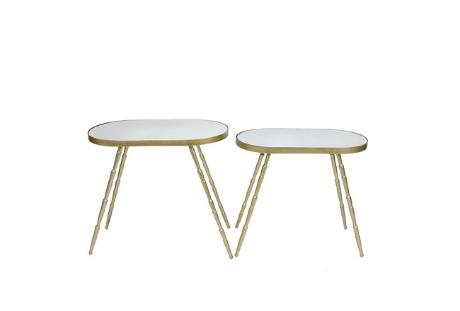 Set Of 2 Mirrored Round Accent Tables - 360
