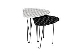 Set Of 2 Black + White Accent Tables