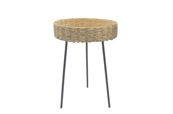 Round Rattan 21 Inch Accent Table