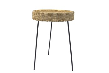 Round Rattan 24 Inch Accent Table