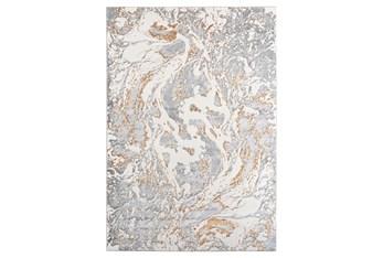 5'x7' Rug-Marble Light Grey/Gold