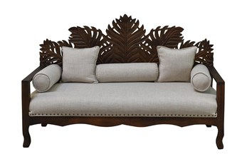 "Dark Brown Palm Leaf 70"" Loveseat"