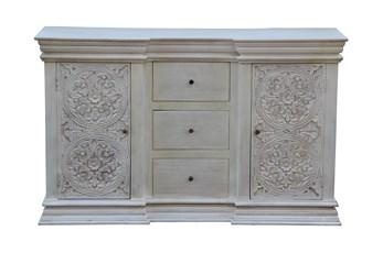 White Wash 3 Drawer 2 Door Chest