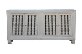 "White Wash Cam 4 Door Spindle 80"" Sideboard"