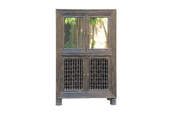 Charcoal 2 Door Spindle Wine Cabinet
