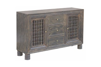 "Charcoal 3 Drawer 2 Door Spindle 64"" Sideboard"