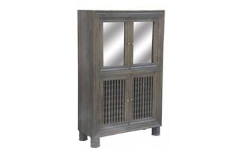 Grey Wash Cam 2 Door Spindle Wine Cabinet