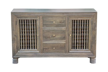 "Grey Wash 3 Drawer 2 Door Spindle 64"" Sideboard"