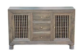 "Grey Wash 3 Drawer 2 Door Spindle 64"" Sideboard"