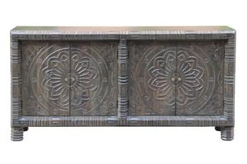 """Brown Medallion Carved 4 Door 80"""" Sideboard"""