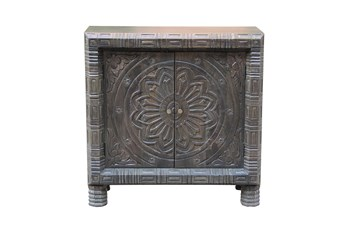 Brown Medallion Carved 2 Door Cabinet