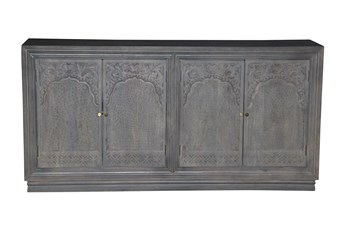 "Grey Wash 4 Door Carved 80"" Sideboard"