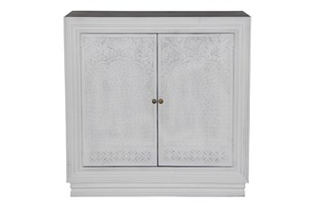 White Wash Cam 2 Door Carved Chest