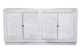 "White Wash Cam 4 Door Carved 80"" Sideboard"