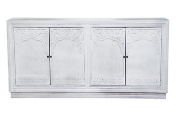 "White Wash 4 Door Carved 80"" Sideboard"