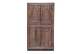 "Espresso 4 Door Carved 70"" Cabinet"