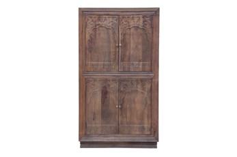 """Espresso 4 Door Carved 70"""" Cabinet"""