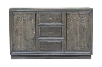 "Grey Wash 3 Drawer 2 Door Carved 64"" Sideboard"
