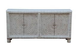 "White Wash Cambodian Medallion 4 Door 80"" Sideboard"