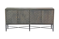 "Grey Wash Scale 4 Door 80"" Sideboard"