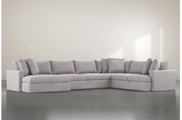 Grand Down 4 Piece Sectional With Left Arm Facing Oversized Chaise