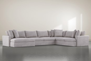 """Grand Down 4 Piece 182"""" Sectional With Left Arm Facing Oversized Chaise"""