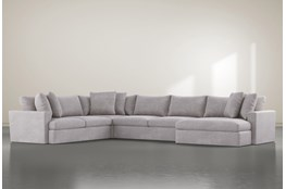"Grand Down 4 Piece 182"" Sectional With Right Arm Facing Oversized Chaise"