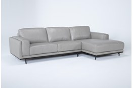Donatello Leather 2 Piece Sectional With Right Arm Facing Chaise
