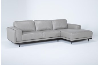 "Donatello Leather 2 Piece 114"" Sectional With Right Arm Facing Chaise"