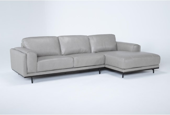 """Donatello Leather 2 Piece 114"""" Sectional With Right Arm Facing Chaise - 360"""