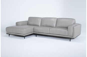 "Donatello Leather 2 Piece 114"" Sectional With Left Arm Facing Chaise"